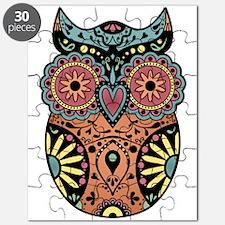 Sugar Skull Owl Color Puzzle