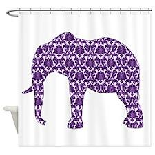 Purple Damask Elephant Pattern Shower Curtain