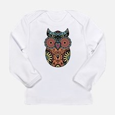 Sugar Skull Owl Color Long Sleeve Infant T-Shirt