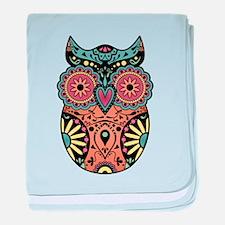 Sugar Skull Owl Color baby blanket