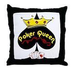 Poker Queen Throw Pillow