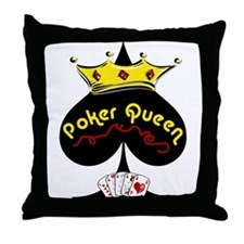 Poker Queen Throw Pillow