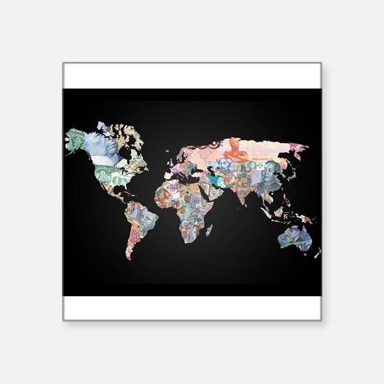 World Money Fiat Currency Map Sticker