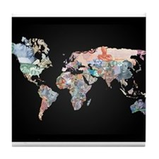 World Money Fiat Currency Map Tile Coaster