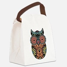 Sugar Skull Owl Color Canvas Lunch Bag