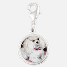pretty on pink Silver Round Charm