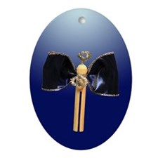Blue Clothespin Angel Ornament (Oval)