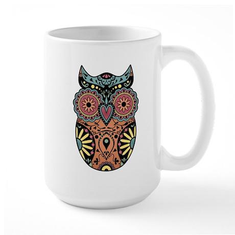 Sugar Skull Owl Color Large Coffee Mug
