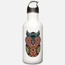 Sugar Skull Owl Color Water Bottle