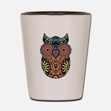 Sugar Skull Owl Color Shot Glass