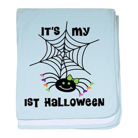 Babys 1st Halloween spider baby blanket