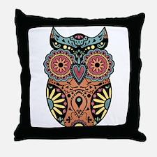 Sugar Skull Owl Color Throw Pillow