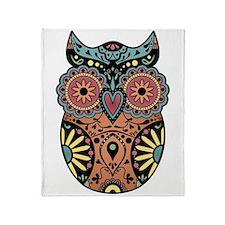 Sugar Skull Owl Color Throw Blanket