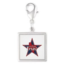 I Messed With Texas Silver Square Charm