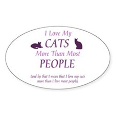I Love My Cats 2 Oval Decal
