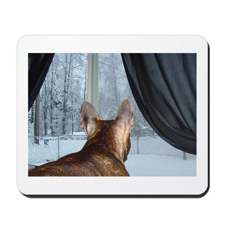 Winter Window Frenchie Mousepad
