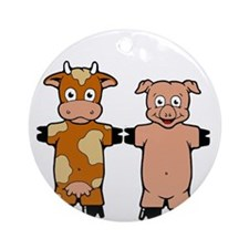 COW AND PIG Ornament (Round)