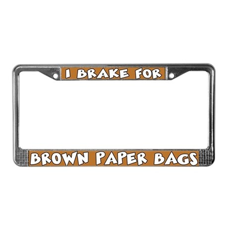 Brown Paper Bags License Plate Frame
