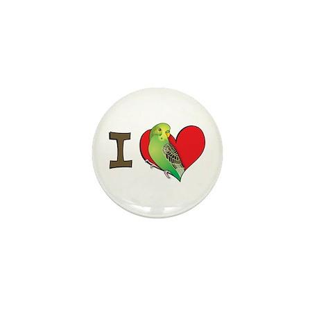 I heart parakeets (Green) Mini Button (10 pack)
