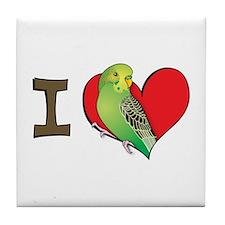 I heart parakeets (Green) Tile Coaster