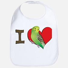 I heart parakeets (Green) Bib