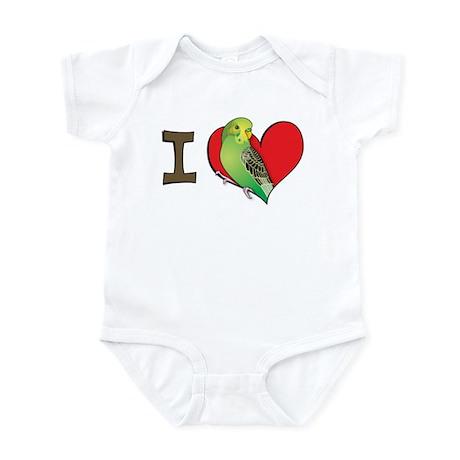I heart parakeets (Green) Infant Bodysuit
