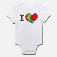 I heart parakeets (Green) Infant Bodysuit