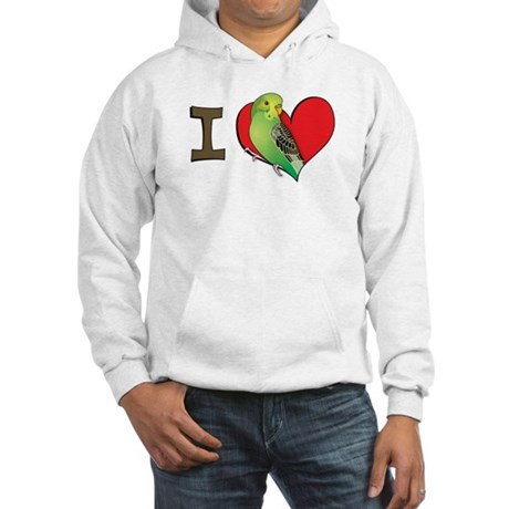I heart parakeets (Green) Hooded Sweatshirt