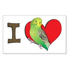 I heart parakeets (Green) Rectangle Decal