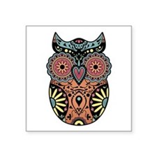 "Sugar Skull Owl Color Square Sticker 3"" x 3"""