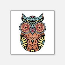 """Sugar Skull Owl Color Square Sticker 3"""" x 3"""""""