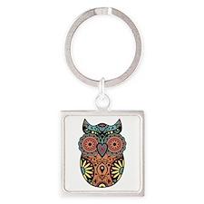 Sugar Skull Owl Color Square Keychain