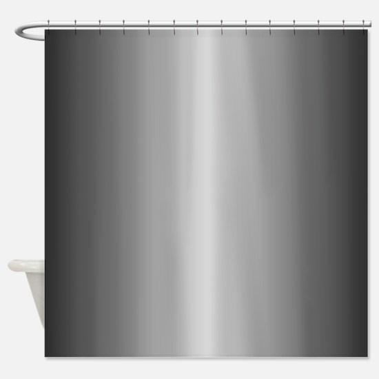 Grey Metallic Shiny-Looking Shower Curtain