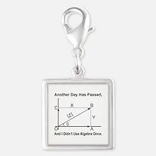 Algebra Humor Silver Square Charm