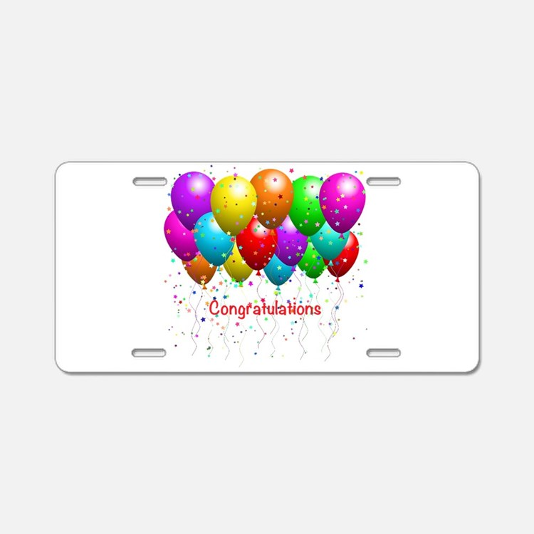 Congratulations Balloons Aluminum License Plate