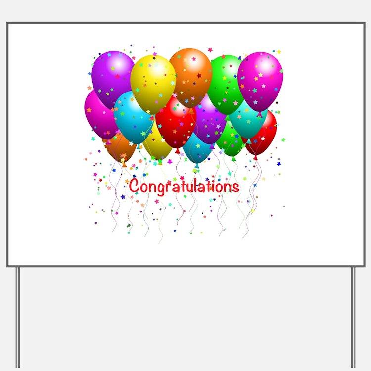 Congratulations Balloons Yard Sign