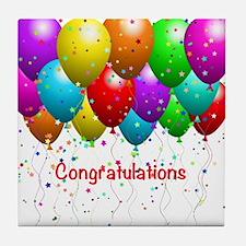 Congratulations Balloons Tile Coaster