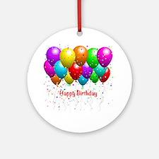 Happy Birthday Balloons Ornament (Round)