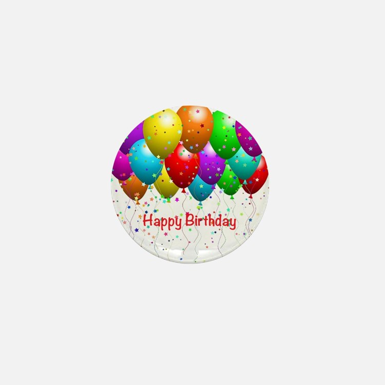 Happy Birthday Balloons Mini Button (10 pack)