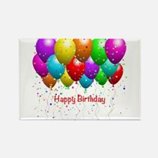Happy Birthday Balloons Rectangle Magnet (10 pack)