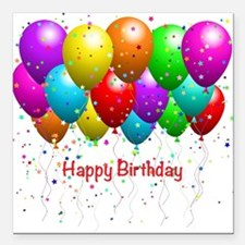"Happy Birthday Balloons Square Car Magnet 3"" x 3"""