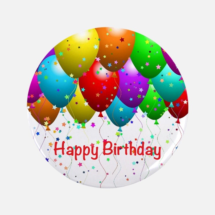 "Happy Birthday Balloons 3.5"" Button (100 pack)"