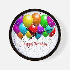Happy Birthday Balloons Wall Clock
