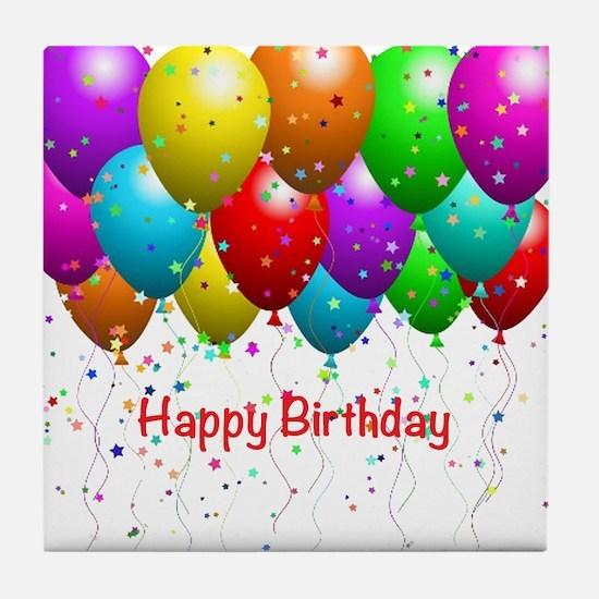 Happy Birthday Balloons Tile Coaster