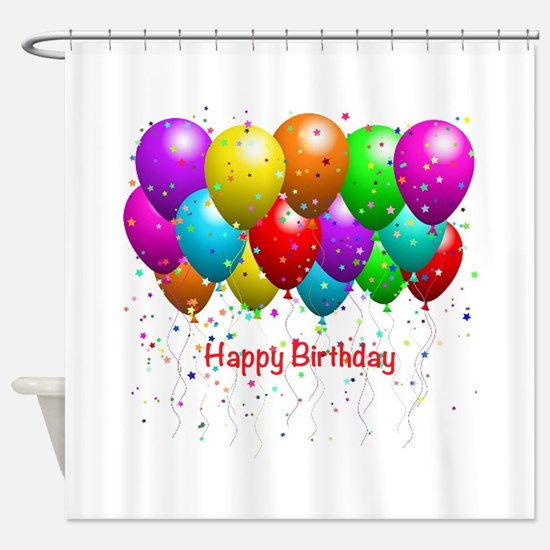 Happy Birthday Balloons Shower Curtain