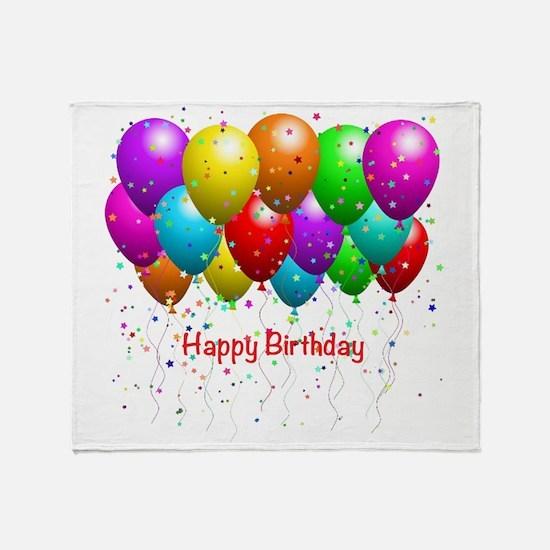 Happy Birthday Balloons Throw Blanket