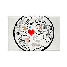 World animals Rectangle Magnet