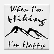 Hiking (Black) Tile Coaster