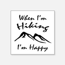 "Hiking (Black) Square Sticker 3"" x 3"""