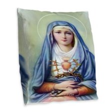 LL Seven Sorrows of Mary Burlap Throw Pillow